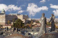 Buda & Pest sculpture - Buda Castle, Budapest, Hungary