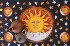 Hand printed black base morning sun tapestry sun moon tapestry celestial wall hanging hippie tapestries boho zodiac tapestry SFS056 by colornframe on Etsy