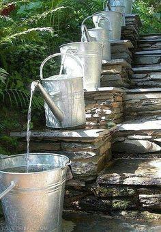 Pilgrim and Pie in France.: Water feature with watering cans ! I love this Watering Can Water Feature! Dream Garden, Garden Art, Home And Garden, Outdoor Spaces, Outdoor Living, Ponds Backyard, Backyard Ideas, Garden Ponds, Modern Backyard