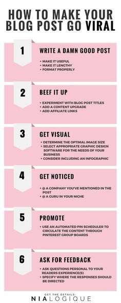 [INFOGRAPHIC] How To Go Viral: Get Your Blog Post Shared Thousands of Times With These 6 Steps | Perfect for new and seasoned bloggers alike, this article details what makes a blog post successful and how to drive traffic to your website.