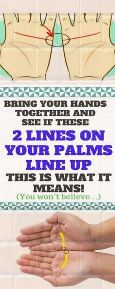 Bring your hands together and see if these two lines on your palm line up. this is what is means astrology palmistry Lose Weight In A Month, How To Lose Weight Fast, Palm Lines Meaning, How To Stay Healthy, Healthy Life, Healthy Food, Healthy Living, Healthy Recipes, Healthy Detox