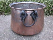 Antique Copper Tin Lined Garden Pot Planter Primitive Rustic Decor Iron Handles