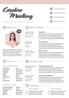 Resume CV Design Template Cover Letter For Par OddBitsStudio