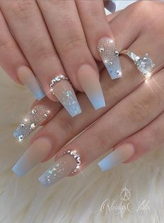 20 Elegant Acrylic Blue Nails Design For Coffin and Stiletto Nails - Easy Nail Designs 💅 Bling Nails, Gold Nails, Stiletto Nails, Swag Nails, White Sparkle Nails, Polygel Nails, Rhinestone Nails, Fancy Nails, Blue Acrylic Nails