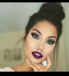 Burgundy lip with brown shadows