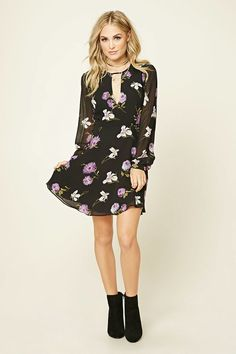 Forever 21 Contemporary - A woven mini dress featuring a floral print, a round neckline with a strappy cutout accent, long cuffed sleeves, a slightly flared skirt, a buttoned-keyhole back, and a concealed back zipper.