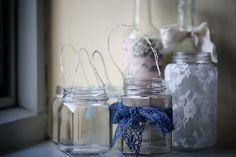 Jam jar lanterns with lace