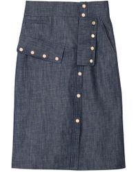 Tibi | Raw Denim Snap Skirt | Lyst Raw Denim