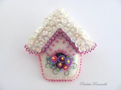 Felt Birdhouse Pin by Beedeebabee on Etsy, $23.00