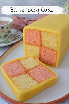 Recipe for a Battenberg Cake - a traditional British cake, perfect for afternoon tea. How to make a Battenberg Cake with step by step photos. A light sponger cake with apricot jam and wrapped in marzipan #thebakingexplorer #battenberg #afternoontea #marzipan #greatbritishbakeoff British Cake, Fruit Scones, Afternoon Tea Recipes, British Baking, Great British Bake Off, Gel Food Coloring, Baking Tins, Cake Tins, High Tea