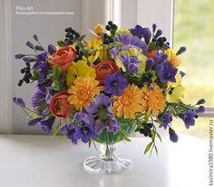 Купить Букет с черникой - тёмно-фиолетовый, рыжий, оранжевый, лето, цветы, букет