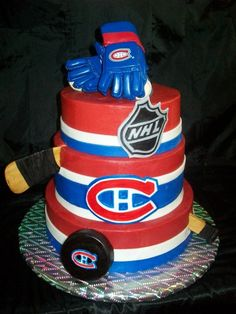 Montreal Canadiens - 3 tier cake with fondant stripes and hand painted logos. The hockey stick is gumpaste, puck is melting wafers and the gloves were purchased for the birthday boy to keep. Hockey Birthday Cake, Hockey Birthday Parties, New Birthday Cake, Hockey Party, Hockey Puck, 10th Birthday, Fancy Cakes, Cute Cakes, Fondant Cakes