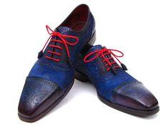 Paul Parkman Men's Captoe Oxfords Blue Suede (ID#024-BLUSD)