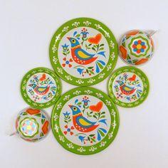 Ohio Art Floral Bird Tea Set, Vintage Tin Toy