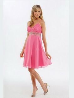 (FITS0253428 )2012 Style A-line Spaghetti Straps  Embroidery  Sleeveless Short / Mini  Chiffon Pink Cocktail Dress / Homecoming Dress