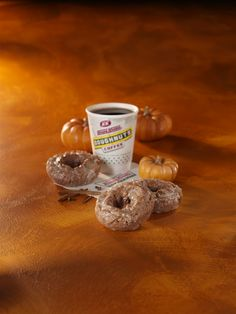 Pumpkin Spice doughnut: A moist old-fashioned pumpkin spice flavored cake doughnut coated in Krispy Kreme's famous glaze.