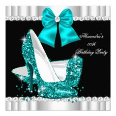 Shop Elegant Glitter Hot Pink Glamour High Heels Invitation created by Zizzago. Quinceanera Shoes, Quinceanera Invitations, Bleu Turquoise, Teal Blue, Teal High Heels, Jewel Images, 21st Birthday Invitations, 50th Birthday, Elegant Birthday Party