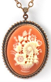 Vintage Orange and Cream Cameo Necklace by TashaHussey