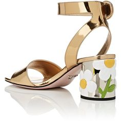 Prada Women's Floral-Appliquéd Sandals ($990) ❤ liked on Polyvore featuring shoes, sandals, open toe sandals, floral sandals, yellow high heel sandals, block heel sandals and white high heel sandals
