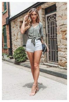 Summer Shorts Outfits, Shorts Outfits Women, Summer Outfits Women, Short Outfits, Women's Summer Clothes, Casual Shorts Outfit, Beach Outfits, Classy Outfits, Sexy Outfits