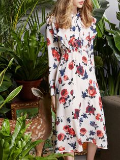 #AdoreWe #StyleWe Midi Dresses❤️Designer JIANSHAN Multicolor Elegant Floral Stand Collar Midi Dress - AdoreWe.com