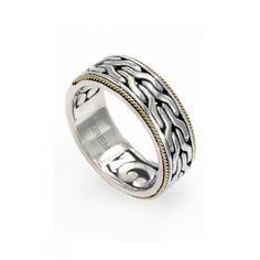 Effy 925 Sterling Silver and 18K Yellow Gold Men's Ring