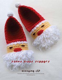 Santa Claus Children Slippers Crochet PATTERN for Christmas Winter Holiday Kittying Crochet Pattern by kittying.com from mulu.us  This pattern includes children sizes 10 - 11, 12 - 13, 1 - 2, 3 - 4