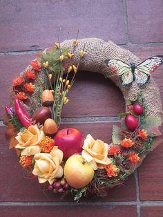 Venček jesen-ruža+ovocie pre Jarku / anad333 - SAShE.sk - Handmade Dekorácie
