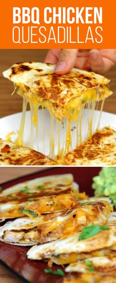 Pan fry red onion and chicken breast until cooked, then add BBQ sauce, stirring until evenly coated. In another oiled pan, lay down one tortilla, followed by mozzarella, bbq chicken & onions, parsley, and cheddar. Top with the second tortilla, and flip. Slice quesadilla into quarters and serve with guacamole or sour cream, if desired!