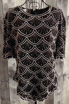 Vintage Laurence Kazar Beaded Sequin Top Blouse Faux Pearl 100% Silk Size XL #LaurenceKazar #Top