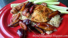 Grillowany kurczak z karmelizowanymi śliwkami i kaszą bulgur