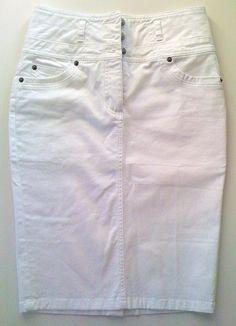 Weißer Jeans-Rock, Stretch-Baumwolle, Größe 36, Pencil, knielang