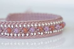 Mauve toned crochet bracelet wit purple and by LupineJewelry, $15.50