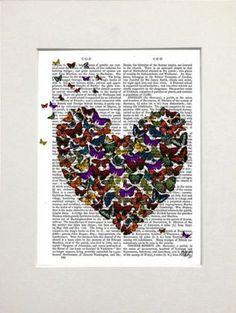 Funky butterfly print in heart shape on mount