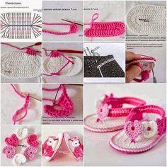 Crochet pink and white sandals ❤️LCB-MRS❤️ with picture instructions ---- Mi baúl de Inspiraciones : Mas cositas de bebés ;)