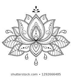 Mehndi Lotus flower pattern for Henna drawing and tattoo. Decoration in ethnic oriental, Indian style. Mehndi Lotus flower pattern for Henna drawing and tattoo. Decoration in ethnic oriental, Indian style. Henna Patterns, Flower Patterns, Flower Pattern Drawing, Pattern Flower, Indian Patterns, Flower Template, Mandala Pattern, Crochet Patterns, Mehndi Designs