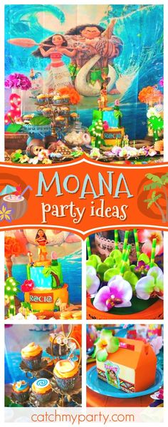 Take a look at this tropical Moana birthday party! The birthday cake is incredible!! See more party ideas and share yours at CatchMyParty.com #partyideas #catchmyparty #moanabirthdayparty #girlbirthdayparty