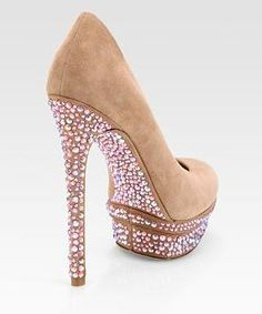 B Brian Atwood  Crystal-Coated Suede Platform Pumps $395 ( saks 5th ave)