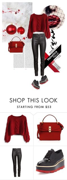 """RED Winter"" by larizoid ❤ liked on Polyvore featuring Oris, Chicwish, Henri Bendel, H&M and Prada"