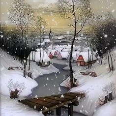 Merry Christmas Gif, Merry Christmas Pictures, Christmas Scenery, Winter Wonderland Christmas, Winter Scenery, Outdoor Christmas, Christmas Art, Christmas Lights, Christmas Greetings
