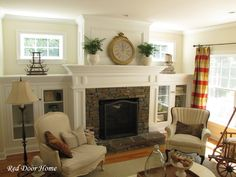 Fireplace surround is similar to what we want.  BLog shows w/ pic's how they built the shelving.  | Red Door Home