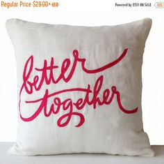 10% OFF White Linen Throw Pillow Better Together by AmoreBeaute