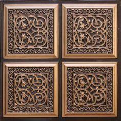 Decorative Ceiling Tiles, Inc. Store - Lover's Knot - Faux Tin Ceiling Tile - Glue up - - Plastic Ceiling Tiles, Faux Tin Ceiling Tiles, Tin Tiles, Wall Tiles, Covering Popcorn Ceiling, Tile Trim, 3d Wall Panels, Antique Copper, Decorative Boxes