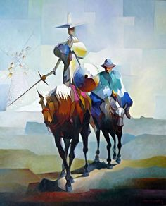 Dom Quixote e Sancho Panca by Damiao Martins Art And Illustration, Illustrations Posters, Man Of La Mancha, Dom Quixote, Watercolor Paintings, Medieval, Images, Fantasy, Fine Art