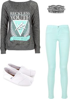 "I adore this ""Young & Reckless"" Polyvore outfit. I love the color turquoise, Y & R sweatshirt, TOMS shoes, and the bangles by Kim Kardashian."