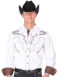 33900 Camisa Charra Caballero El General, 65% Polyester 35%Cotton - White