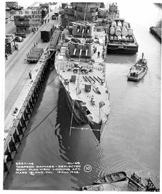 USS St Louis - 1943 the St. Louis after the battle of Kolombangara, showing torpedo damage at her bow