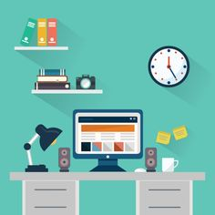 Flat design concept of workspace with computer and vector image on vectorst Design Ios, Icon Design, Site Design, Flat Design Illustration, Digital Illustration, Modern Scandinavian Interior, Design Plano, Note Doodles, Background Design Vector