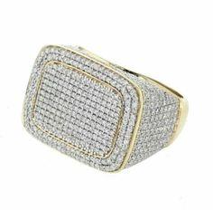 Yellow Gold Over Men's Round Cut Diamond 925 Silver Wedding Band Pinky Ring Mens Diamond Wedding Bands, Silver Wedding Bands, Mens Silver Rings, Silver Man, Wedding Men, Wedding Ring Bands, 925 Silver, Round Cut Diamond, Round Diamonds
