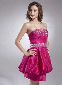Find Wholesale - A-line Sweetheart Taffeta Short/Mini Fuchsia Rhinestone Cocktail Dress at Pickeddresses.com